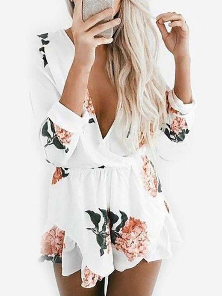 Low Cut Floral Print Deep V Pleated Mini Dress