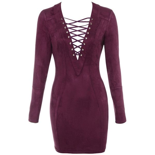 'Sacred' Mulberry Stretch Suedette Lace Up Dress - Mistress Rocks ($85) ❤ liked on Polyvore featuring dresses, sexy long dresses, long-sleeve maxi dresses, bodycon dress, long purple dress and sexy purple dresses