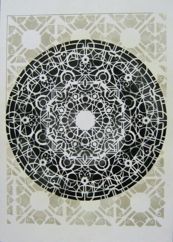 #mandala #stencil on paper 70x100 cm