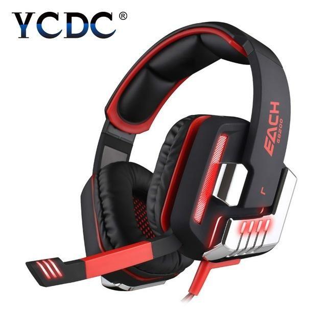 KOTION EACH G8200 Gaming Headphone 7.1 Surround USB Vibration Game Headset Headband Headphone with Mic LED Light for PC Gamer