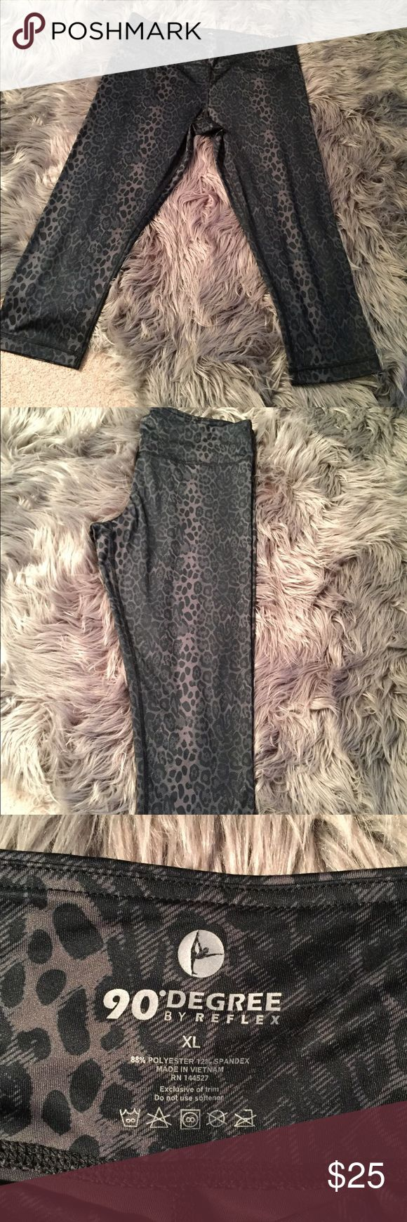 Grey Cheetah Cropped Workout Leggings Worn once. Extremely soft and comfortable workout/activewear leggings. Size women's XL. 90 Degrees by REFLEX Pants Track Pants & Joggers