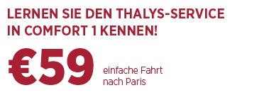 Bahnticket ab 59 € in Comfort 1 mit Thalys