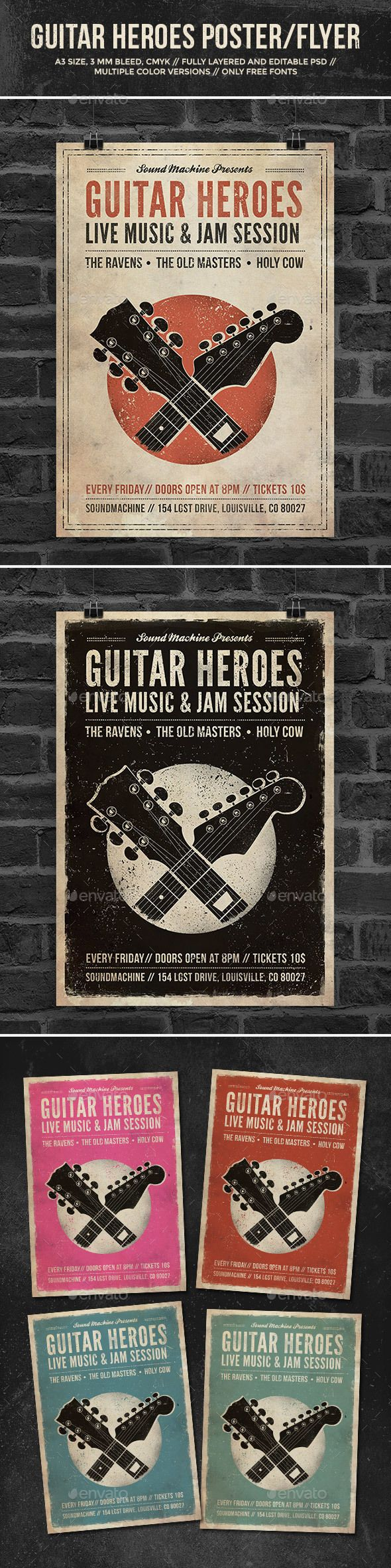 Guitar Heroes - Vintage Music Poster/Flyer - Concerts Events