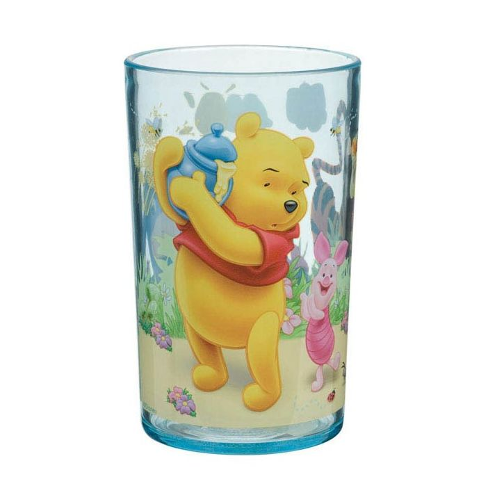 Winnie the Pooh glass Disney  Thought for children, adapted to their needs, this joyful Winnie the Pooh glass will delight your child. Lightweight, sturdy and washable, this glass is a real asset guaranteeing smile and serenity for parents.  Collection : Winnie the Pooh (red shirt)  Dimension : ø. 6,5  H. 10,5 cm  or  ø. 21/2  H. 41/4 inches  Capacity : 225 ml  or  8 oz  Material : acrylic  Stackable glass  Dishwasher safe  http://trend-on-line.com/brand/disney/verre-winnie-l-ourson
