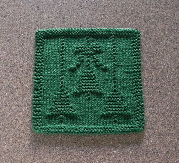 Christmas bells bow knit dishcloth green 100 cotton for Knitted christmas bells
