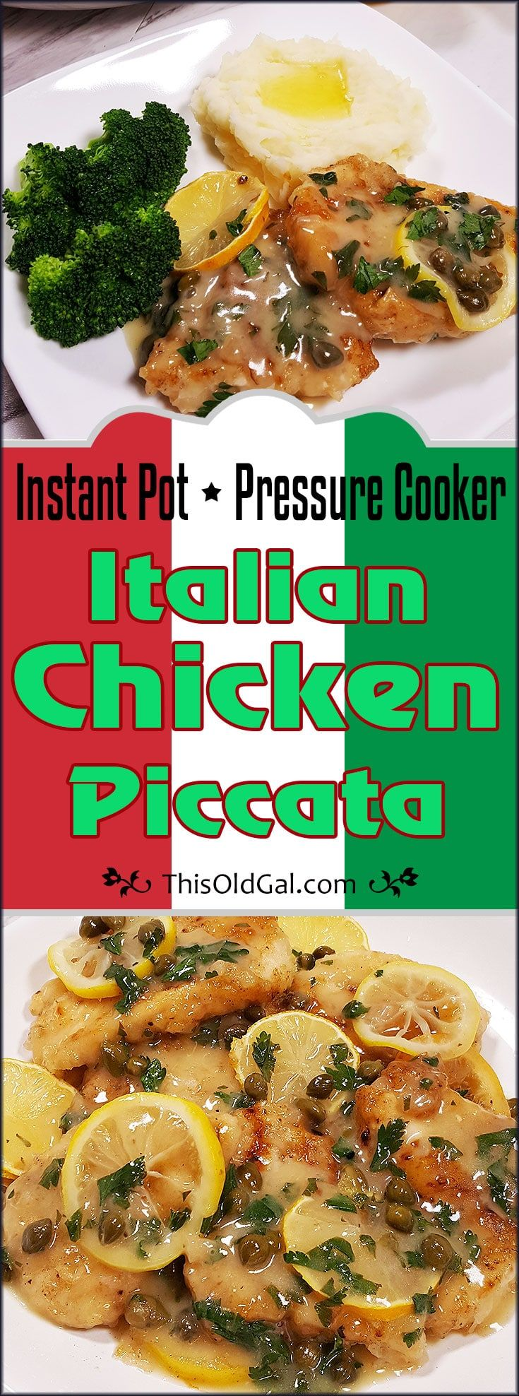 Pressure Cooker Chicken Piccata is an Italian Favorite. It is basically pan-fried Chicken Schnitzel with a simple to make, Lemon Cream Sauce. via @thisoldgalcooks