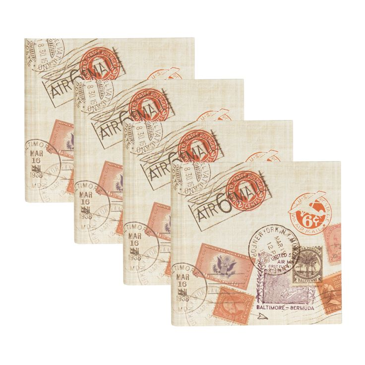DesignOvation Passport Stamps Travel 4x6 Photo Album