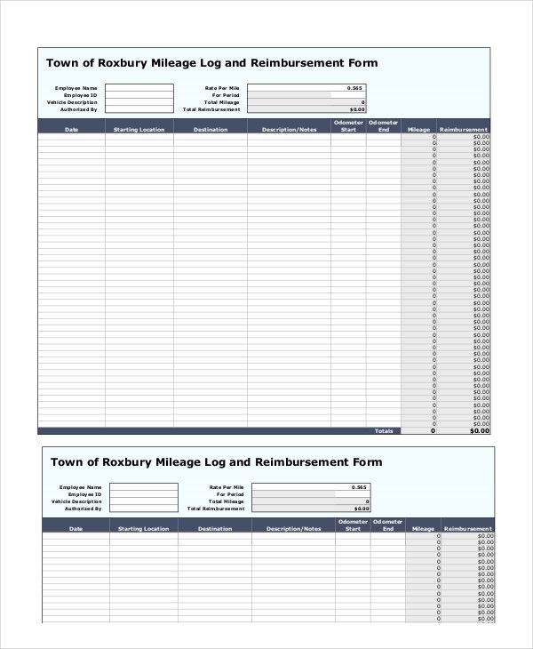 mileage log reimbursement form