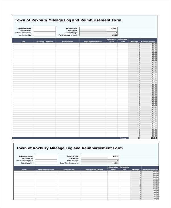 mileage log reimbursement form templates 10 free xlsx docs pdf