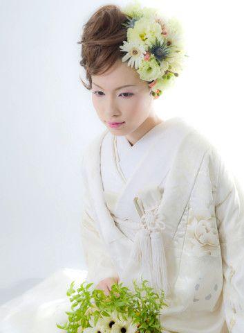 白無垢ブライダルスタイル・フラワーエアリーボブ hs383787 | Blooming ...