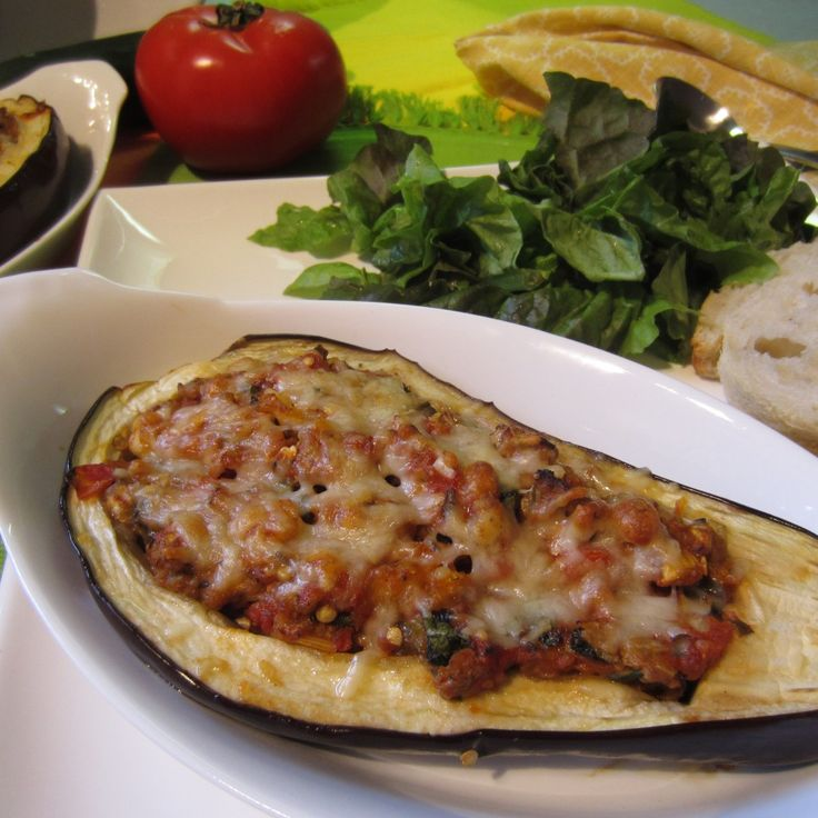 Blimpy Girl's turkey stuffed eggplant is both hearty and nutritious. An under 200 calorie meal.