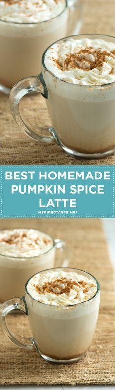 Make the popular coffee house pumpkin latte at home. The best homemade pumpkin spice latte recipe with pumpkin puree, coffee, milk, vanilla and fall spices. Recipe on http://inspiredtaste.net | @inspiredtaste