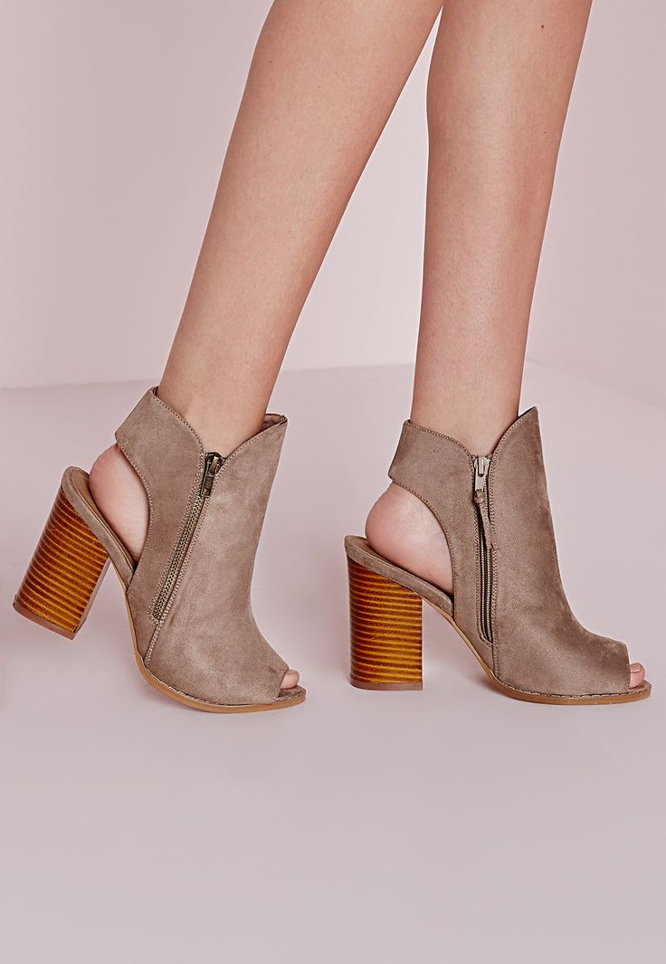 Missguided - Peep Toe Cut Out Ankle Boots Taupe
