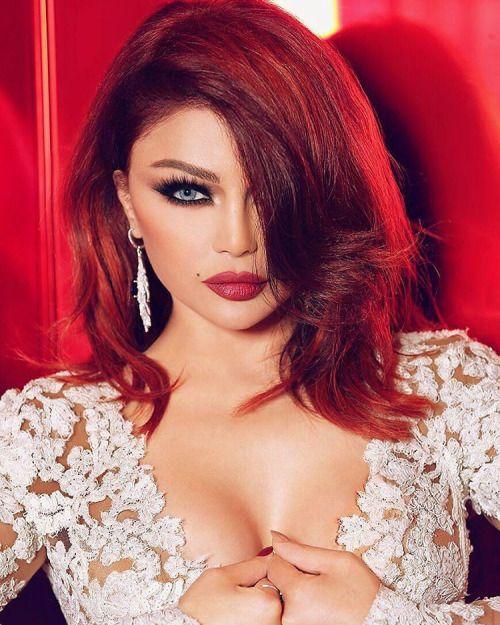 The Arab Trend Setter Haifa Wehbe in fiery ginger hair color.