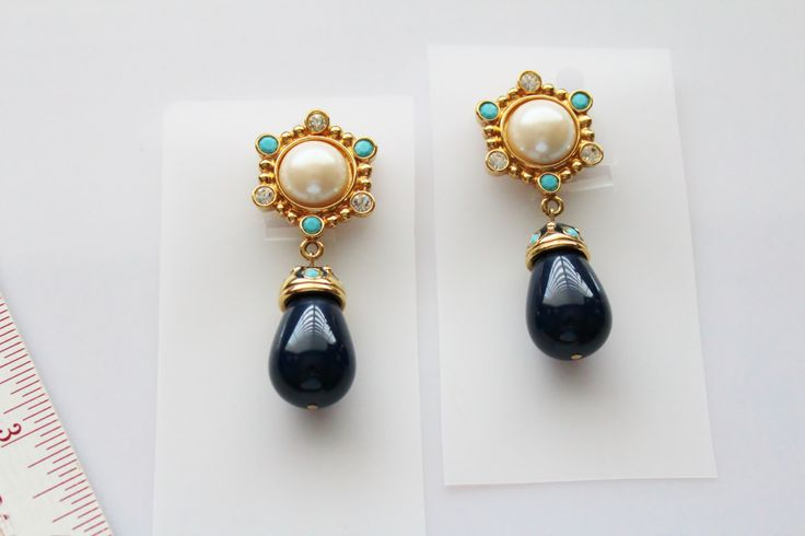 Vintage JOSE MARIA #BARRERA for Avon  Roman Holiday blue Drop Clip Earrings # 230 by Jewelrin on Etsy