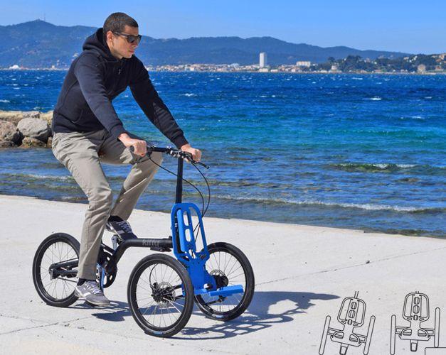 Kiffy est un petit tricyle urbain cargo avec un rack avant amovible. Il est ainsi utilisable comme vélo ou pour faire son marché à pied !