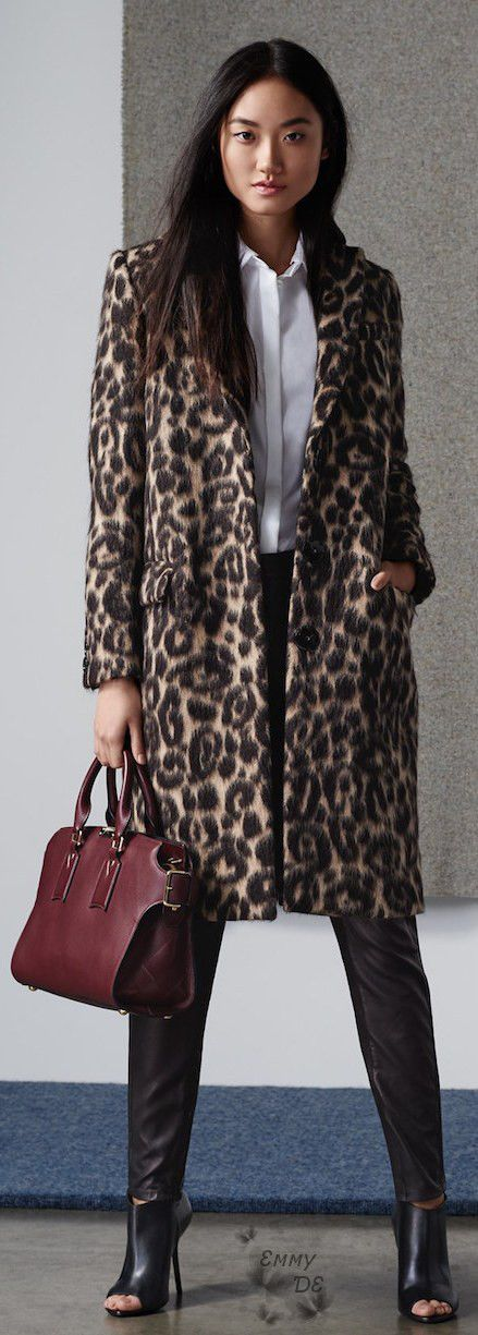 Emmy DE * Burberry London Croasdale Leopard Print Wool Alpaca Reefer Coat Fall 2015
