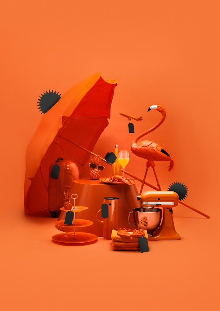 Using orange in this image, creates a lively and tropical feel. The colour orange sparks creativity, enthusiasm and is associated with fun and lively energy.