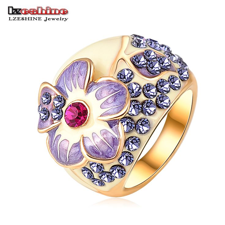 LZESHINE Brand Purple Enamel Flower Rings Gold Plated Austrian Crystal SWA Element Finger Ring with Full Size Bague Ri-HQ0015