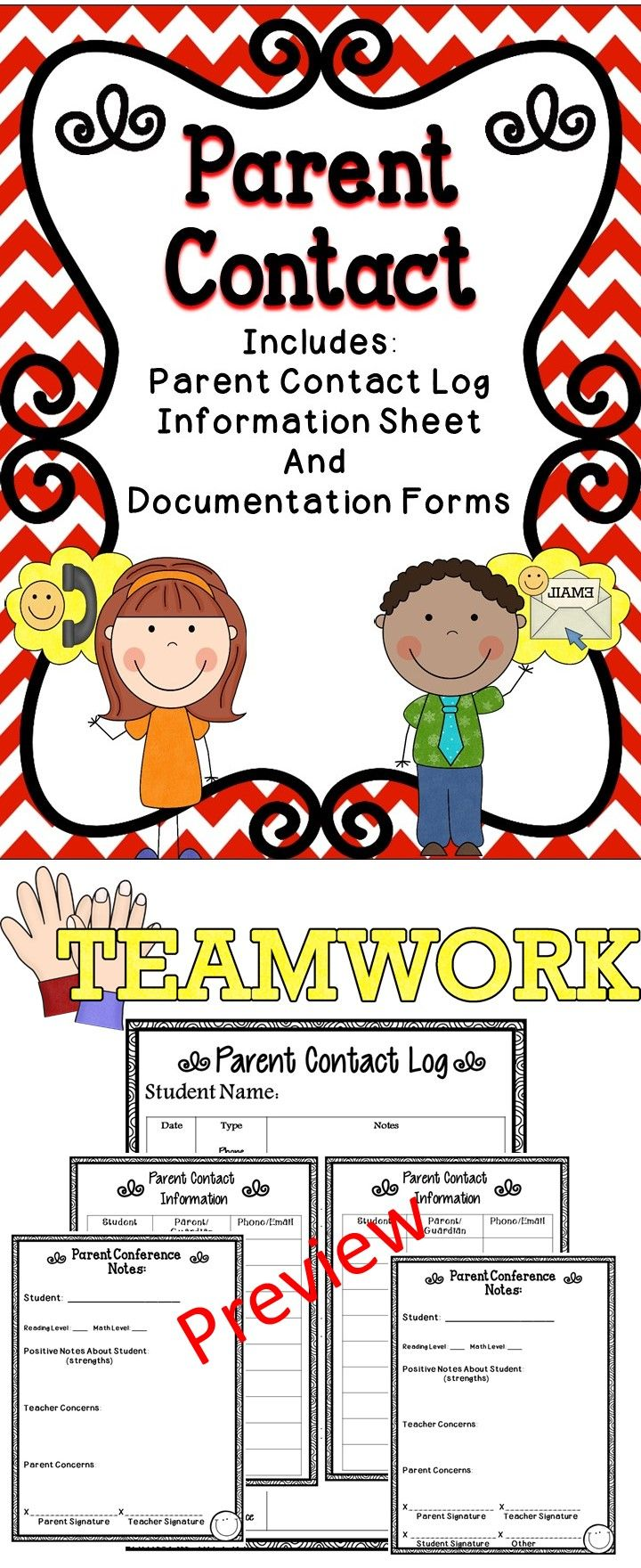 Parent Contact Forms - A great tool to use in your classroom to build positive parent relationships. #tpt  #education #conference