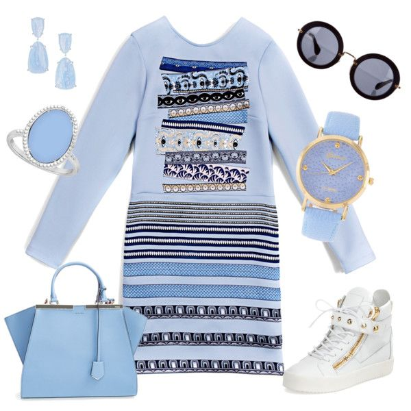 A fashion look from September 2015 featuring Kenzo dresses, Giuseppe Zanotti sneakers and Fendi tote bags. Browse and shop related looks.