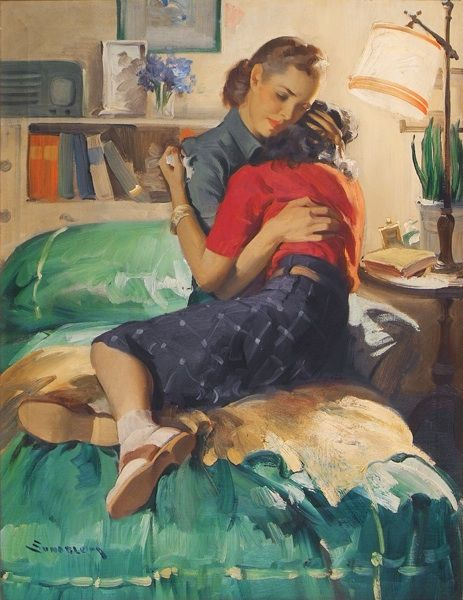 """I love this illustration.  Anytime you see a """"mother & child"""" image, the child is little.  The really tough part my mother had?  Comforting a belligerent teenager! (by Haddon Sundblom, from """"Ladies' Home Journal"""", August 1942)"""
