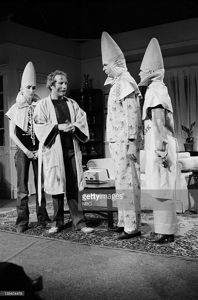 Laraine Newman as Connie Conehead, Richard Dreyfuss as Roy Neary, Dan Aykroyd as Beldar Conehead, Jane Curtin as Prymaat Conehead during the 'Cone Encounters Of The Third Kind' skit on May 13, 1978