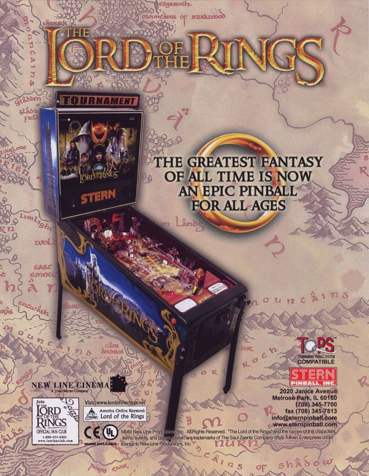 The Lord of the Rings, Stern Pinball, October 2003, leaflet (recto)