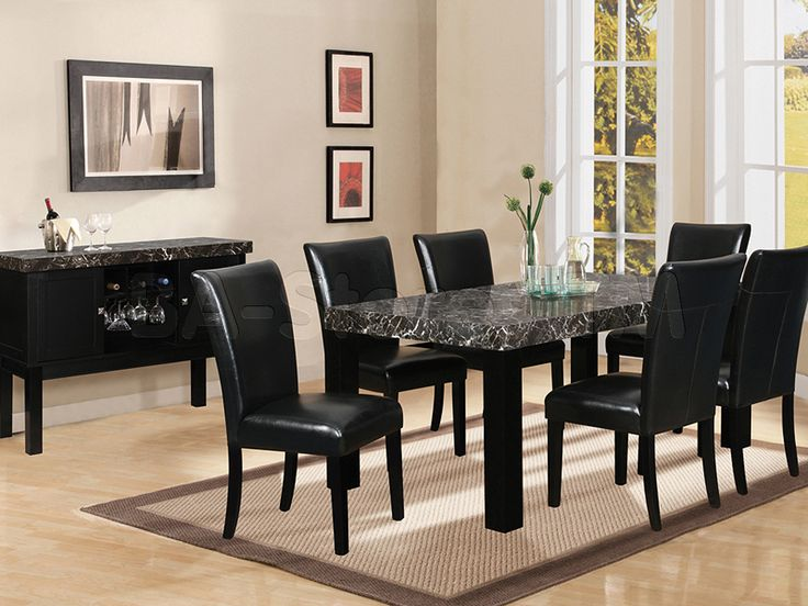 7 piece black marble dining table black dining room set table with faux marble - Marble Dining Room Decorating
