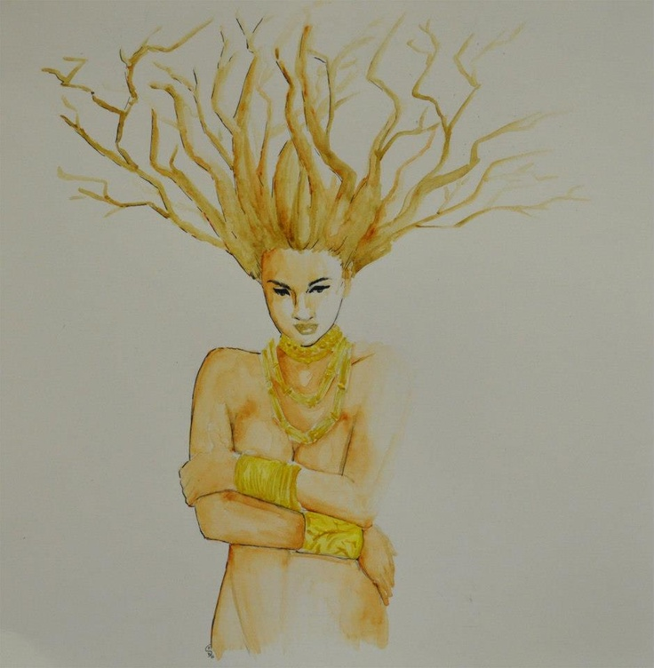 """Although this was initially intended to be part of the """"jewels"""" but it turned into something different. Accomplices frizzy hair that I wanted to make initially, I came up with the idea, in the process, to make the branches. The closure of the body indicates closed in on itself. Daphne was the one who, to escape the courtship of Apollo, he asked, and received, to turn into tree."""