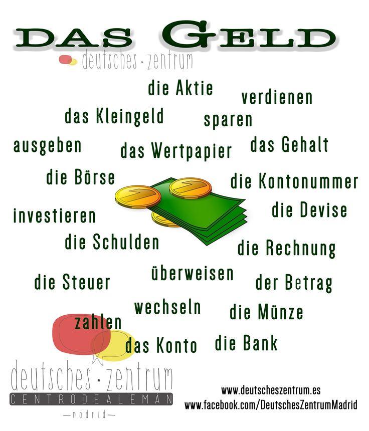 Das Geld  Deutsch Wortschatz Grammatik German DAF Vocabulario Alemán