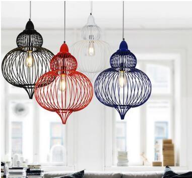 Европейский творческий железа клетка для птиц кулон лампы чердак старинные светильники для столовой бар ресторан украшение A011 купить на AliExpress