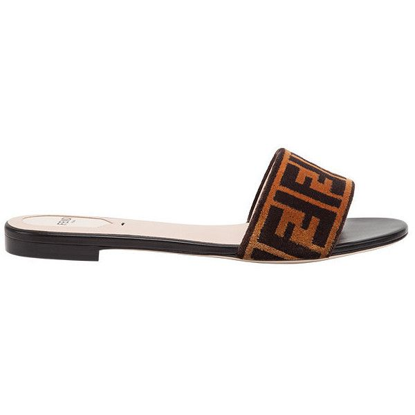 955e1f66 Fendi open toe flat sandals (2,460 SAR) ❤ liked on Polyvore ...
