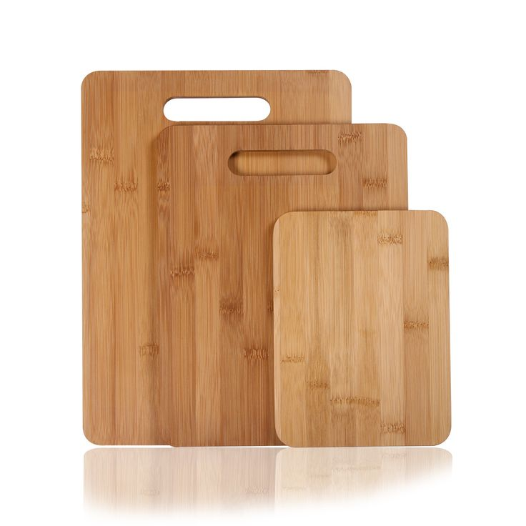 This set of three 100% natural cutting boards is a sustainable and durable solution for all your kitchen chopping and slicing needs. Lightweight and water resistant the boards can be used on both side