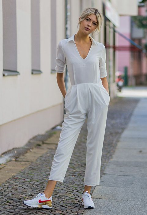 It doesn't get much fresher than an all-white jumpsuit and this softly tailored number, courtesy of 21-year-old blogger Ebba Zingmark, is ideal weekendwear with a sparkling pair of Nikes. Swap out for brogues and a minimal tote bag and you're ready for work