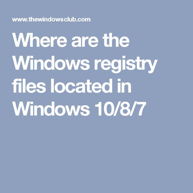 Where are the Windows registry files located in Windows 10/8/7