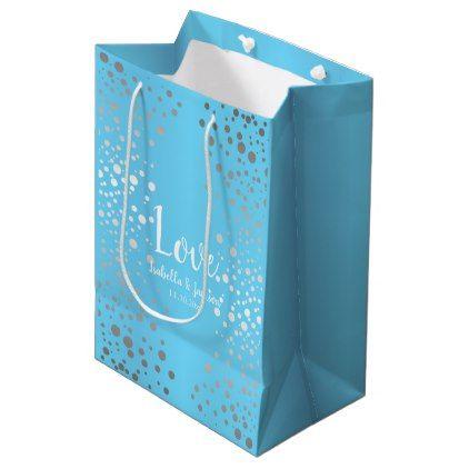 Baby Blue and Silver Confetti Dots Medium Gift Bag - anniversary gifts ideas diy celebration cyo unique