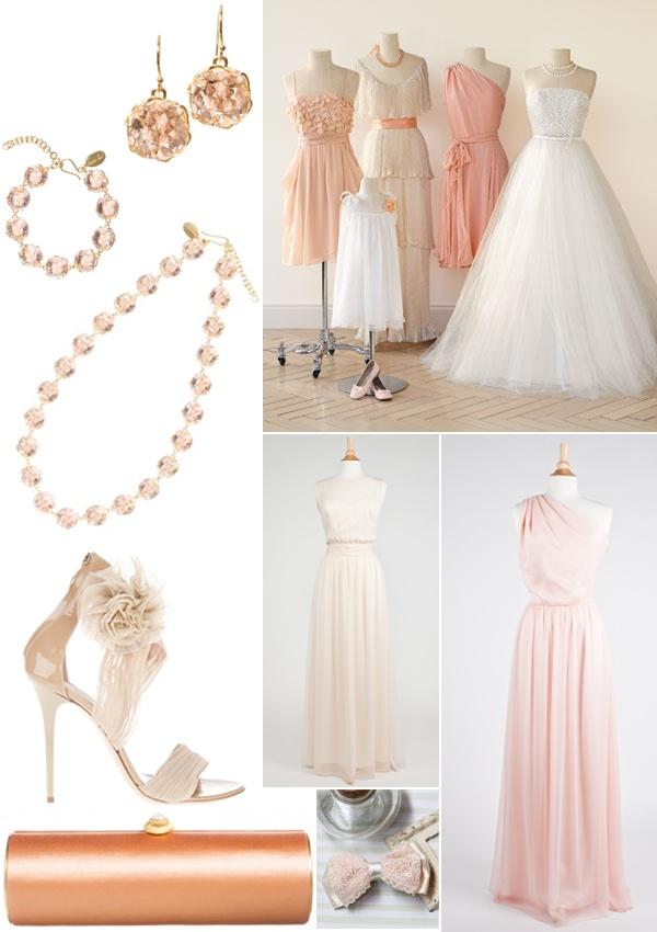 Romantic wedding dresses and peaches & cream bridesmaid style