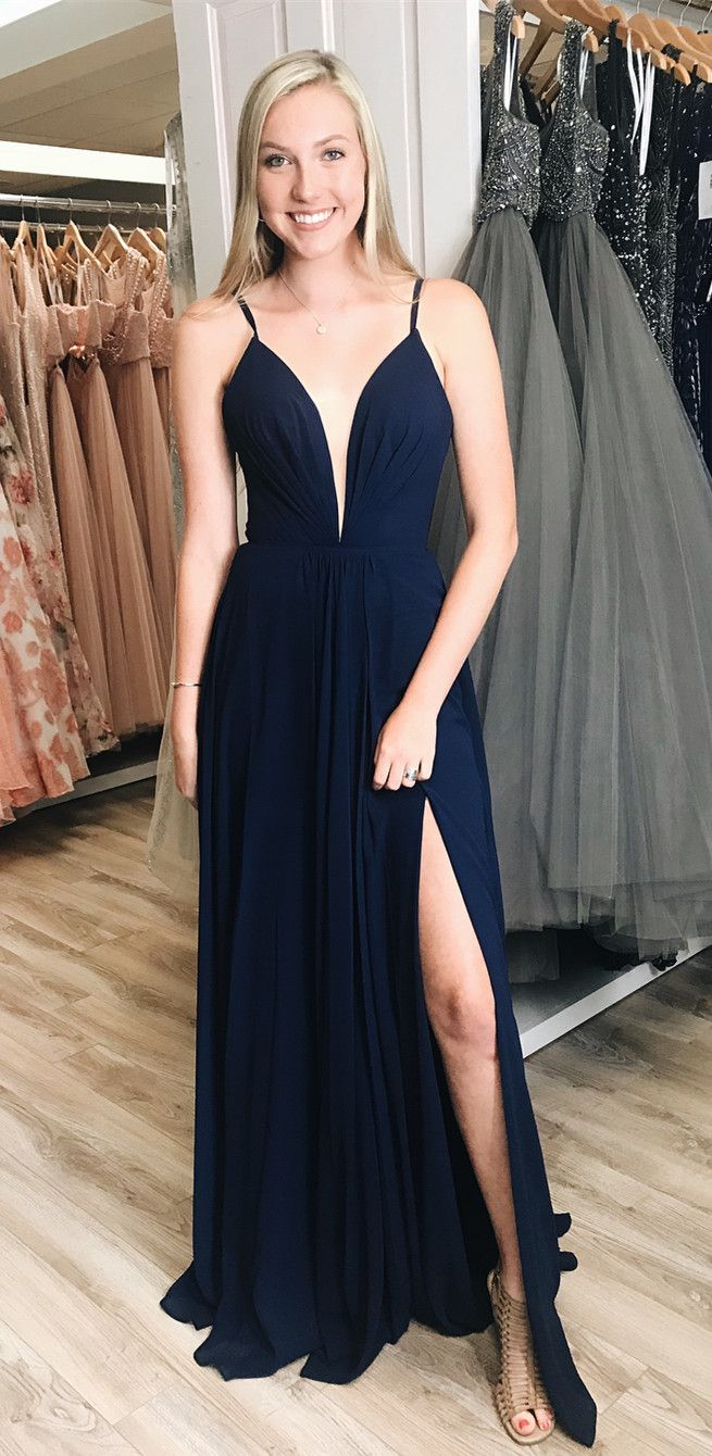 Simple navy blue prom dress long prom dress with side slit