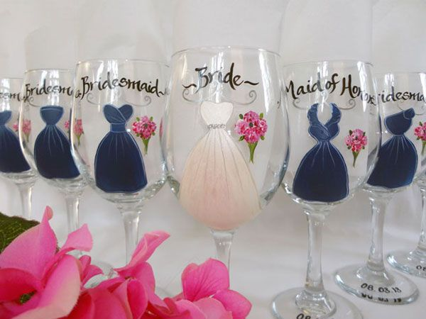 17 best images about bridesmaid wine glasses on pinterest
