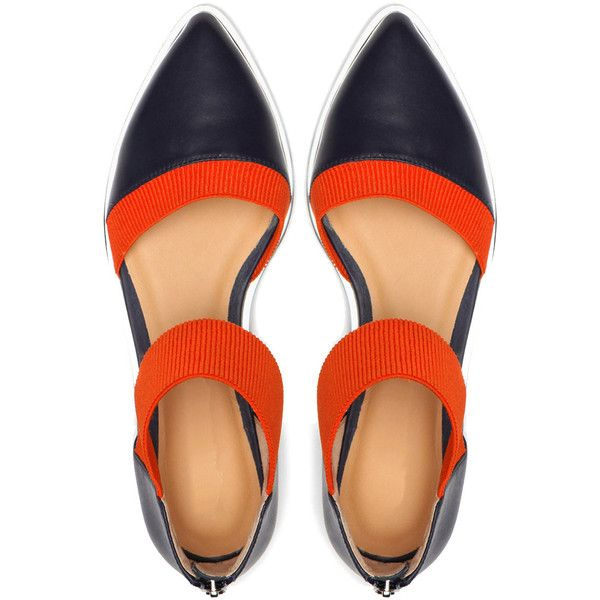 Jady Rose Navy & Orange Pump ($80) ❤ liked on Polyvore featuring shoes, pumps, navy blue high heel shoes, strappy shoes, monk-strap shoes, color block pumps and strap pumps