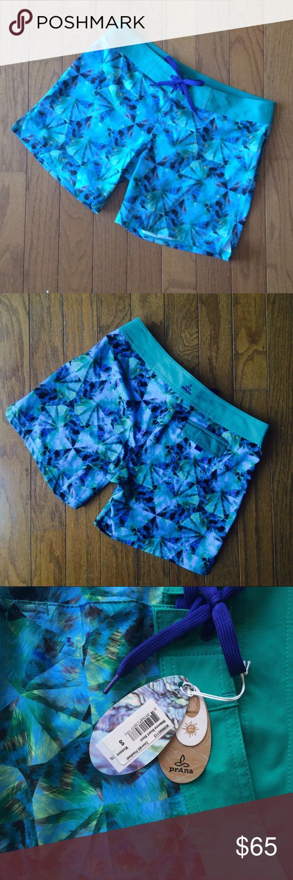 """Prana Blue """"pinwheel"""" Board Shorts -  Small BNWT Honestly the best print I've ever seen for board shorts!! These quick-dry Prana shorts feature SPF protection, Velcro/tie closure, and a rear pocket with velcro. Super lightweight, not like stiff-feeling water shorts. Pair with a crop top, swimsuit and sandals to enjoy the long summer days! Prana Shorts"""