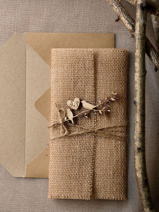 Burlap wrapped, rustic wedding invitations from @4LOVEPolkaDots