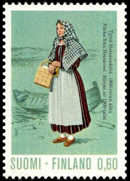 Finnish stamp 1973 - Tyttö Heinävedeltä 1800-luvun alku