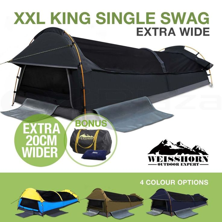 Weisshorn XXL King Single Swag Camping Swags Canvas Tent Deluxe Extra Large