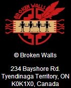 "Broken Walls: Jonathan Maracle (Mohawk, Tyendinaga Territory) with Bill Pagaran (Tlingit) and Kris DeLorenzi (Italian). ""Broken Walls was conceived in 1995 ... As different First Nations speakers shared, they spoke of the walls that have been built between the visitors to this land and the First Nations people, Jonathan began to see the need for these walls to be broken and wrote the song 'Broken Walls'..."" (excerpt from their website; About Us)"