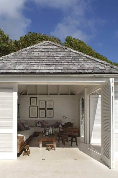 love weathered American shingles but in reality grey colorbond more practical/affordable for Australia & more typical of boathouses/ weatherboard cottages in Mosman Park.