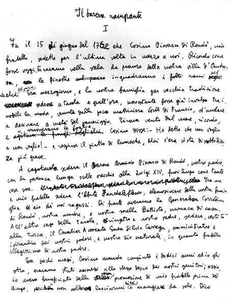 """ITALO CALVINO """"il barone rampante"""" handwritten"""