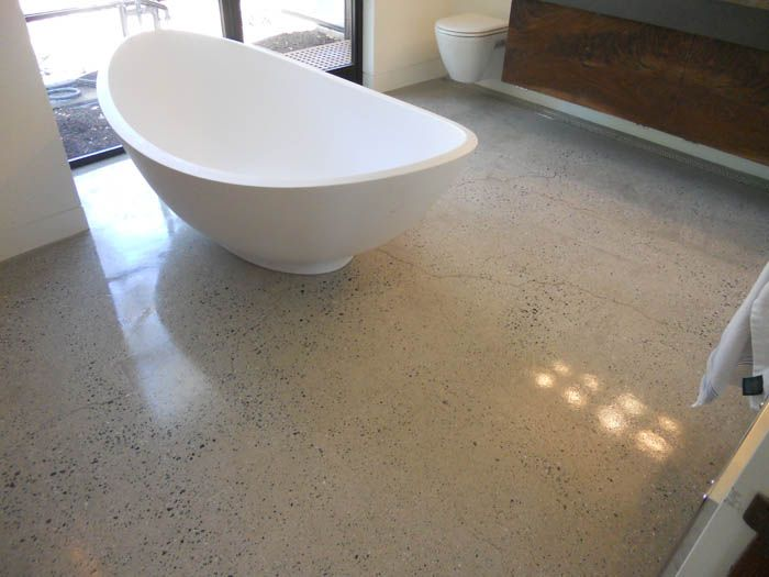 Concrete bathroom floor polished marble ideas masterbath for Polished concrete cleaning products