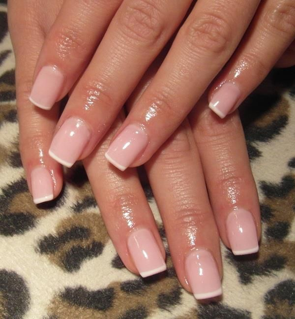 French manicure with pink and super thin white tip. love.